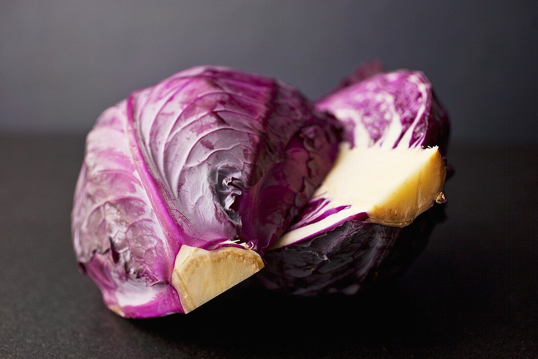 Fresh Purple Cabbage; Halved