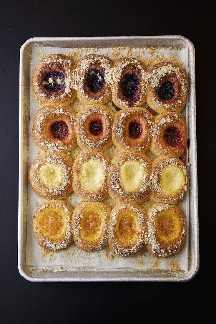 Fresh Baked Danish Pastries on a Baking Sheet
