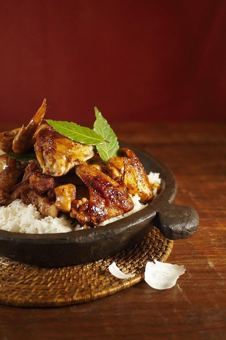 Adobong Manok at Baboy over Rice (Chicken and Pork Adobo); Filipino National Dish