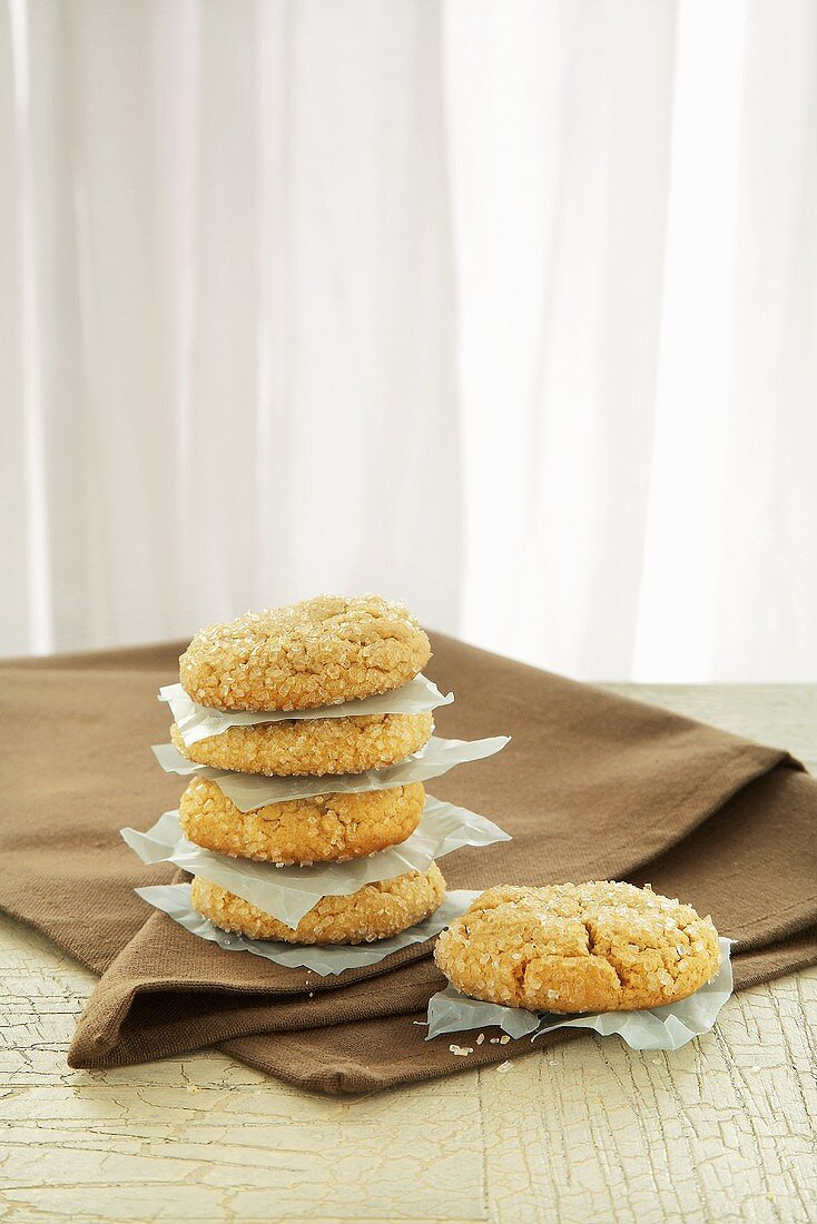Snickerdoodles Stacked; Separated with Pieces of Paper