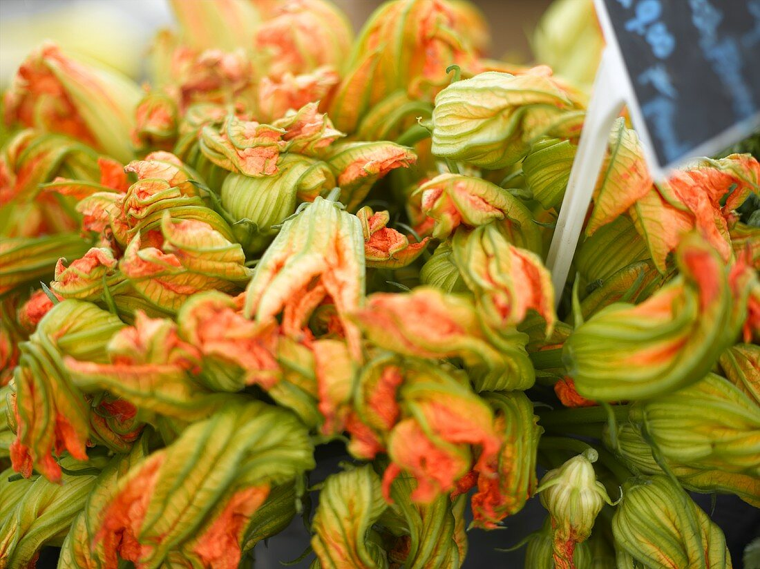 Squash Flowers at a Farmer's Market in Seattle Washington