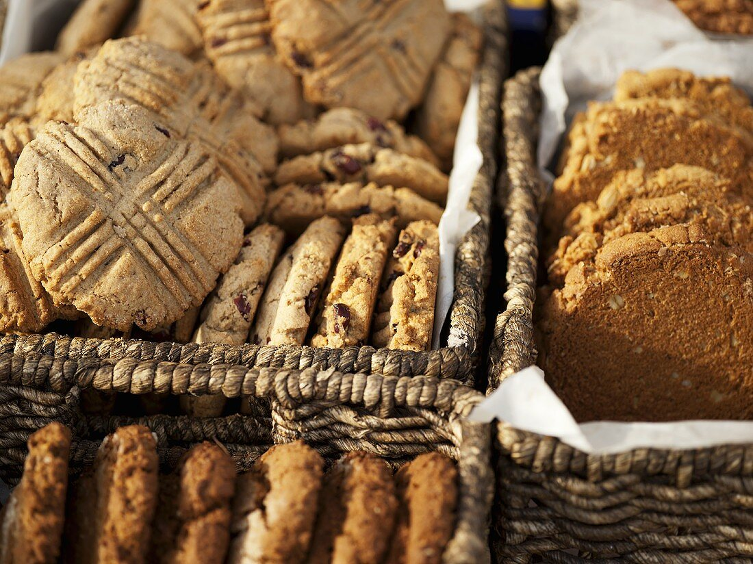 Baskets of Assorted Cookies at a Farmer's Market in Seattle Washington