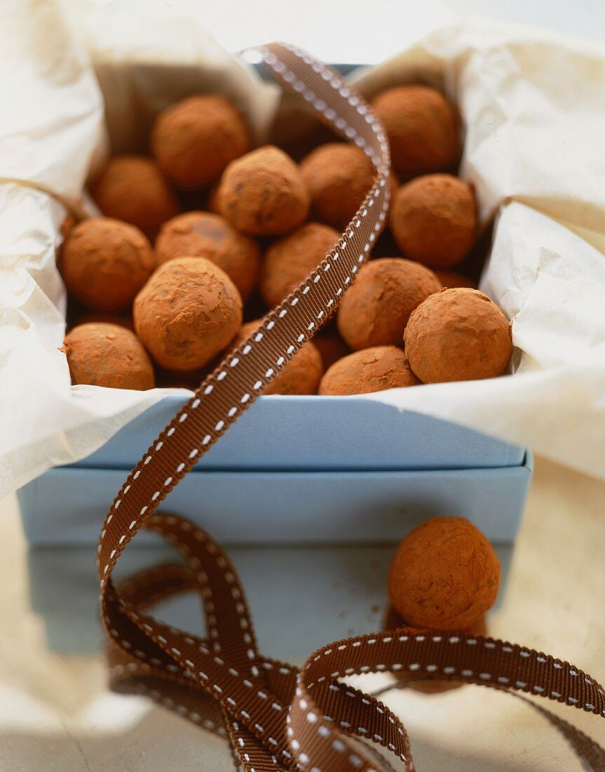 Cocoa Powder Covered Chocolate Truffles in a Gift Box; Opened