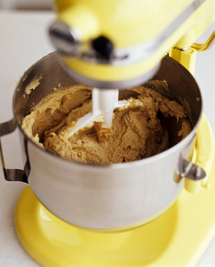 Mixing Chocolate Chip Cookie Dough in a Mixer Before Chocolate Chips are Added