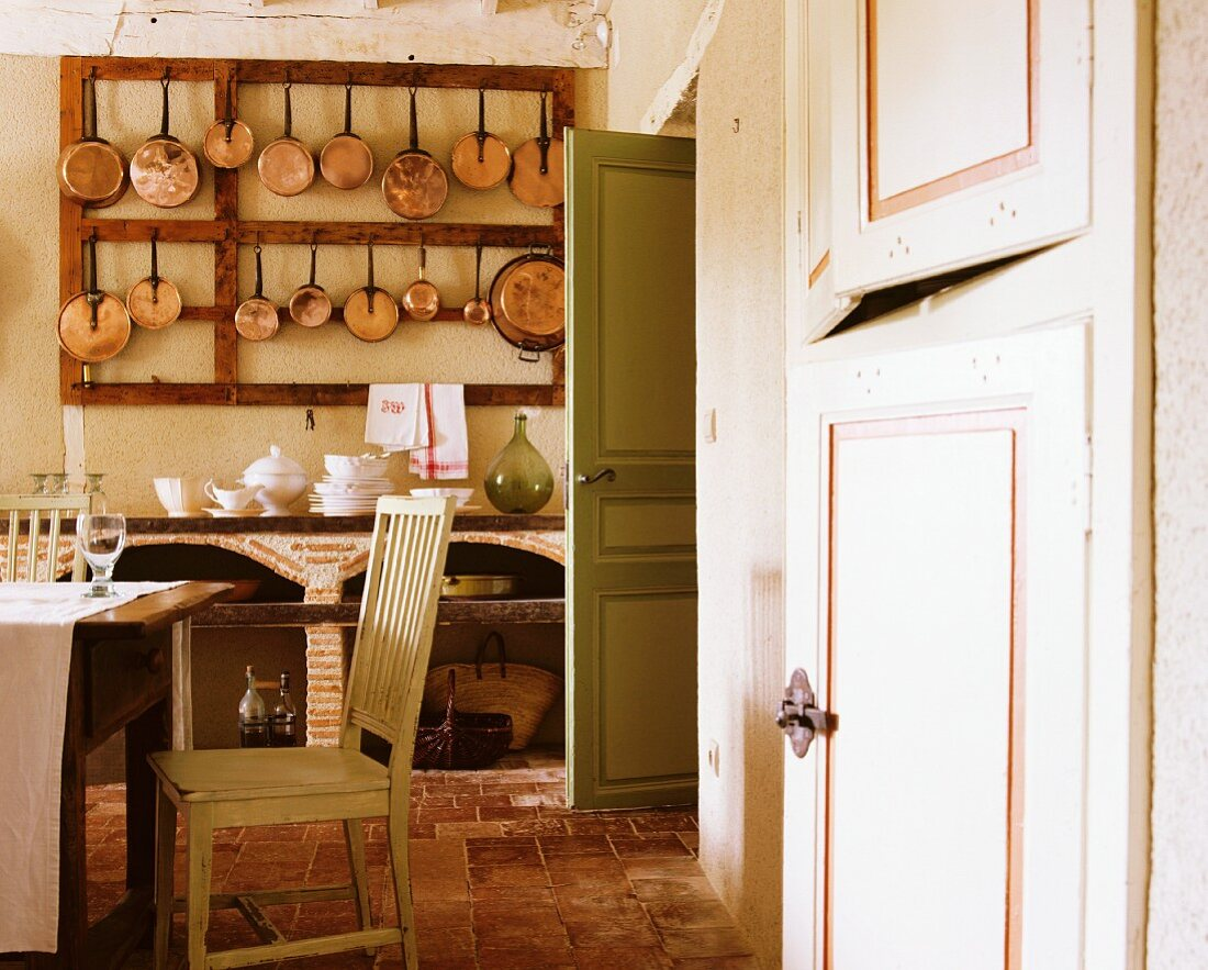 A collection of pans in the kitchen of an old country house