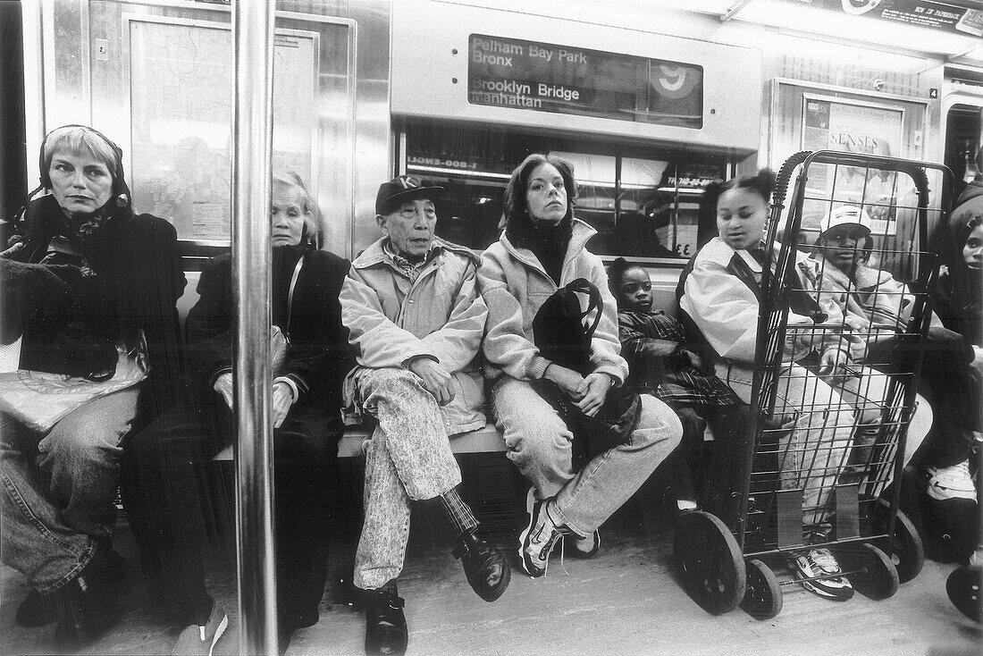 People at the subway No 9, Manhattan, New York, USA, America