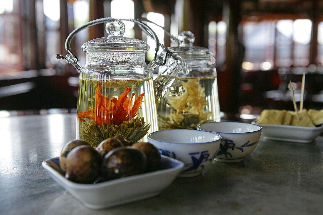 Tea flowers, Huxinting Teahouse, Mid Lake Pavilion Teahouse, Shanghai