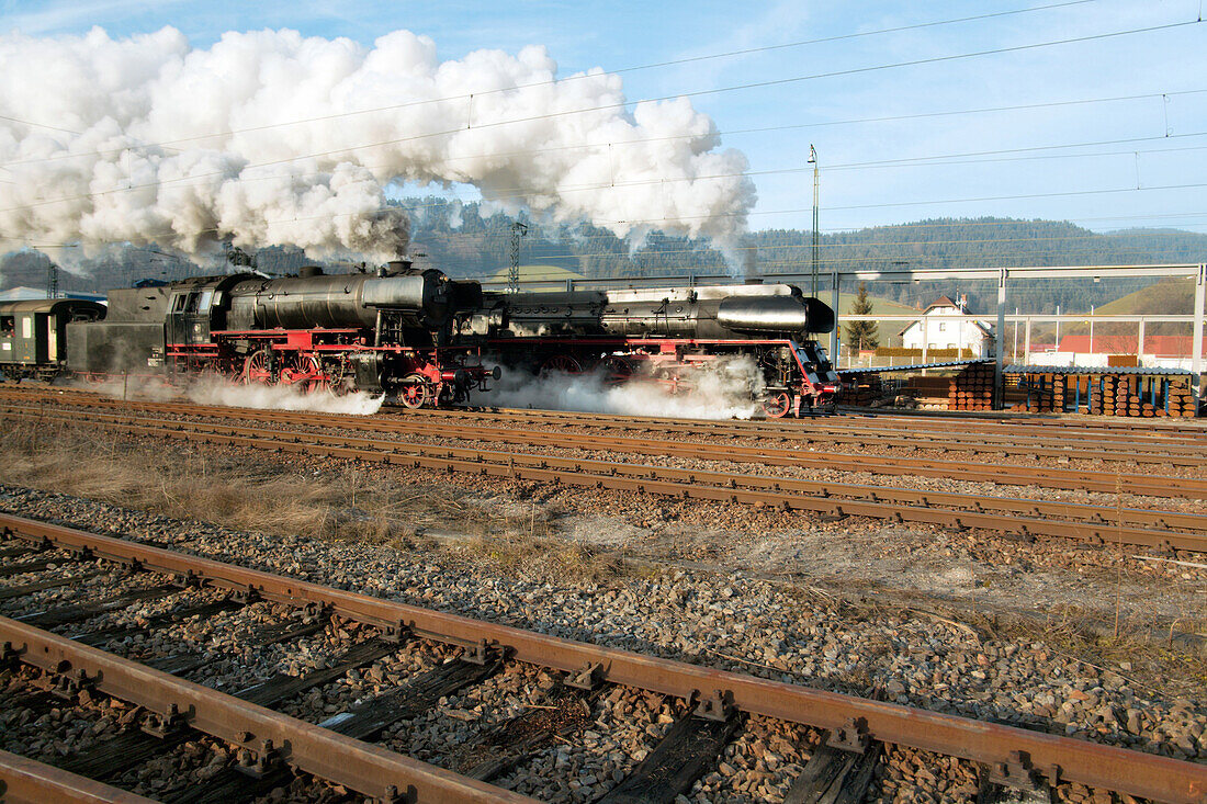 Race of two historical Steam Lcomotives at Railroadfestival, Hausach, Baden Wuerttemberg, Germany