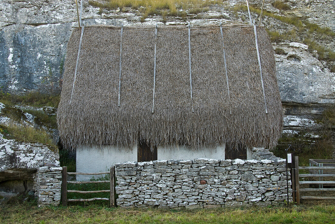 Restored historical building, landscape south of Burgswik, southcoast, Gotland, Sweden, Scandinavia, Europe