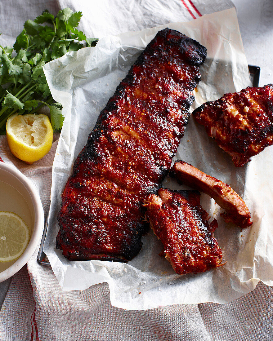 Rack of sticky pork ribs with lemon. StickyPorkRibs