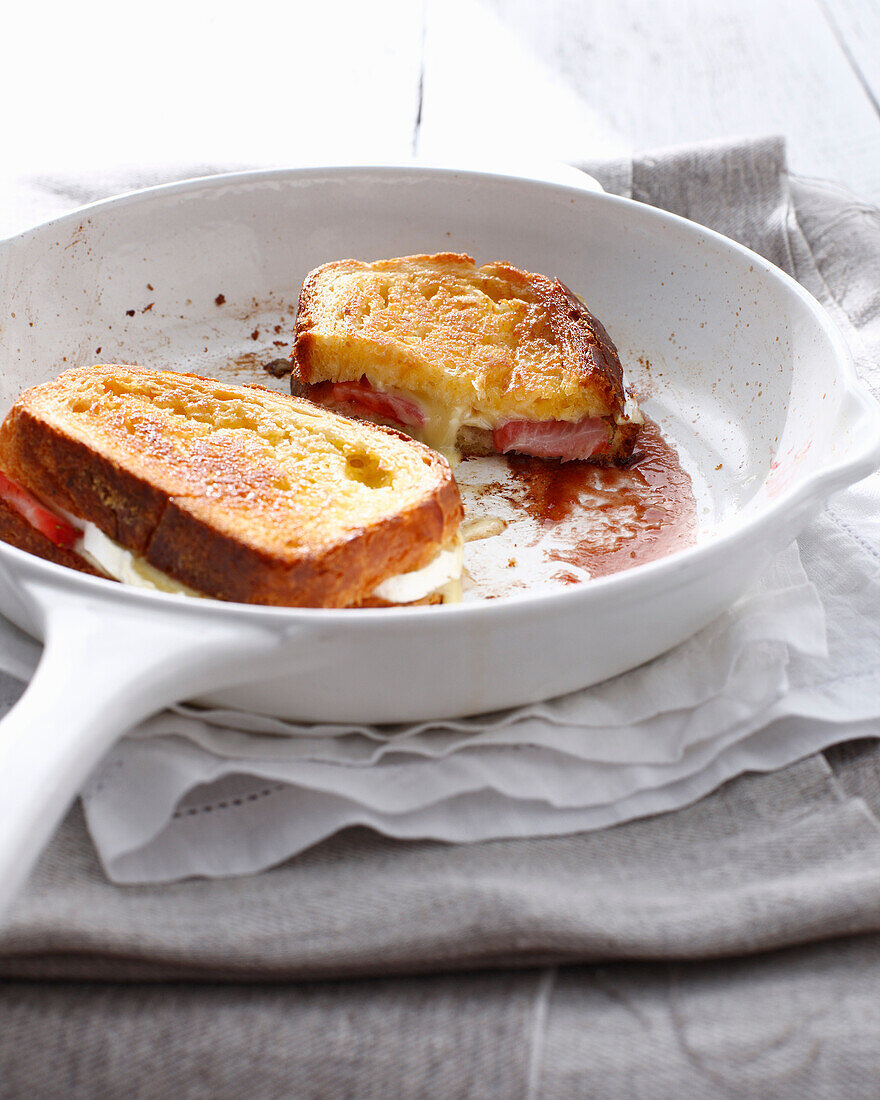 Pan of strawberry cheese sandwich. StrawberrySandwich
