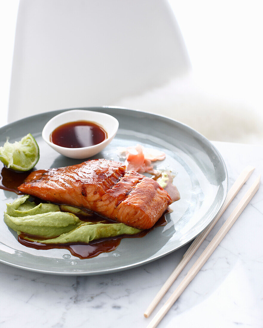 Plate of salmon and wasabi sauce. WasabiSalmon