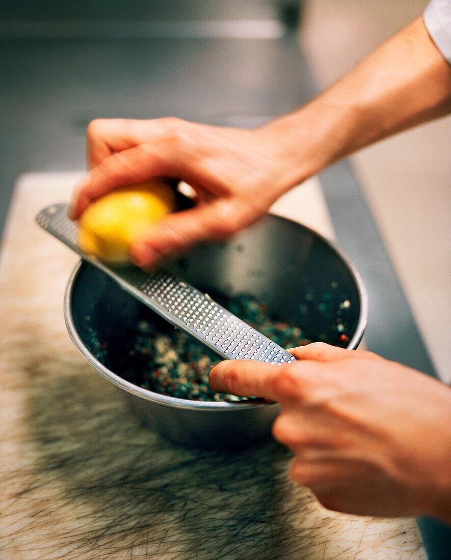 FRANCE, Arbois, food being prepped, Jean Paul Jeunet Restaurant, Jura Wine Region