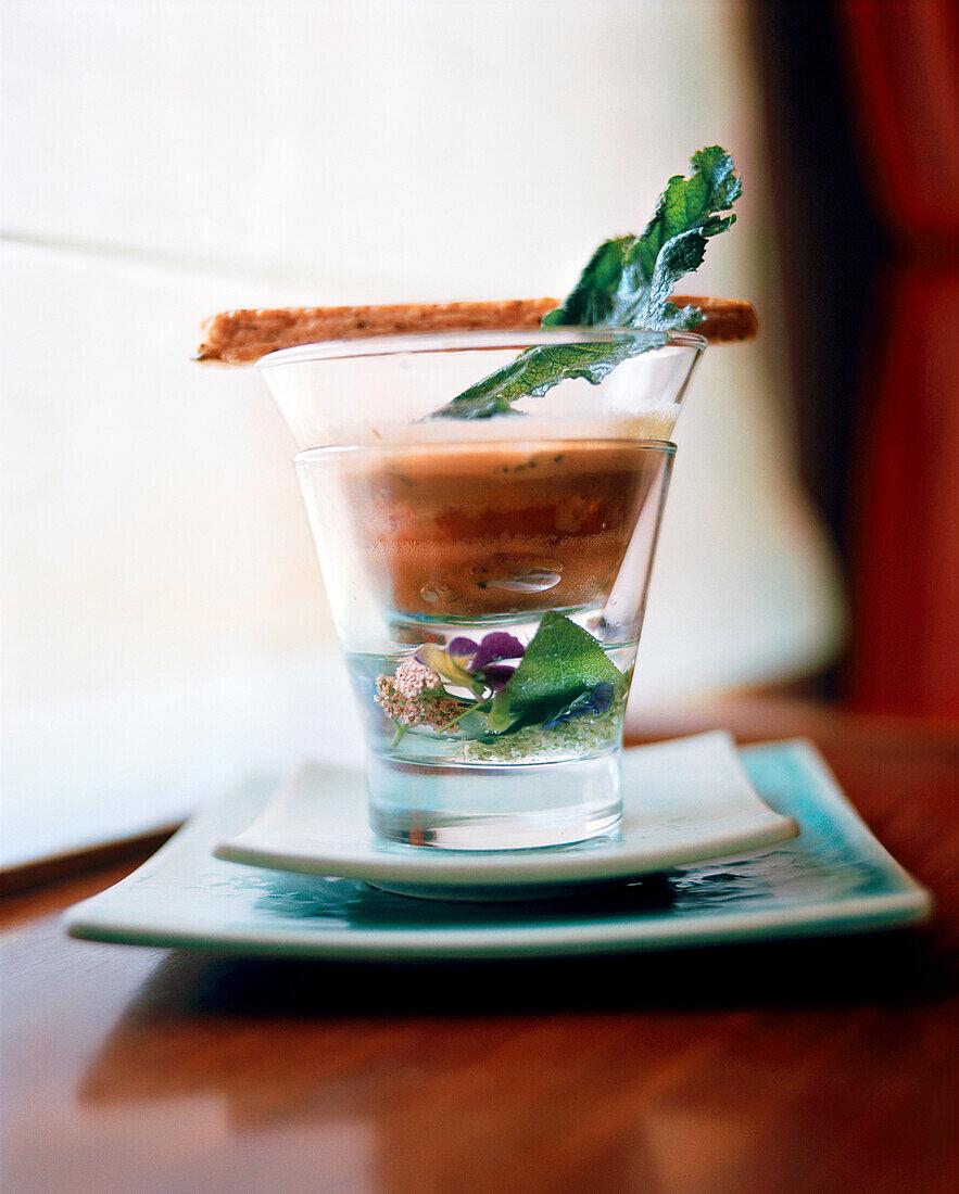 FRANCE, a crawfish appetizer at Jean Paul Jeunet Restaurant, Jura Wine Region