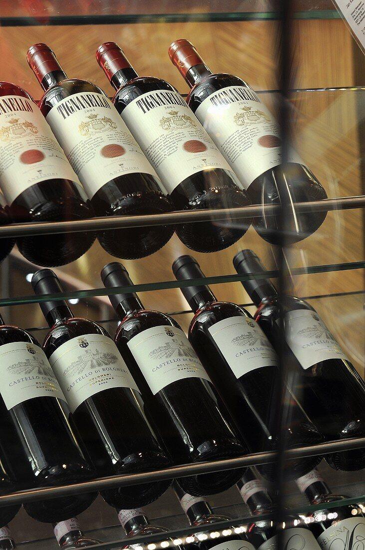 Wine displayed on a glass shelf
