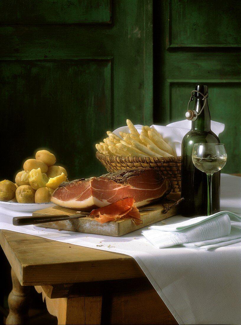 Table Scene Still Life; Ham and Asparagus