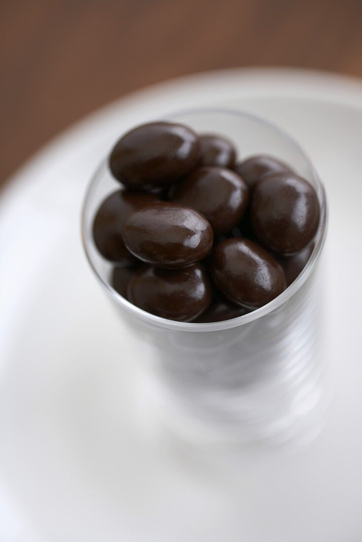 Small Glass of Chocolate Covered Espresso Beans