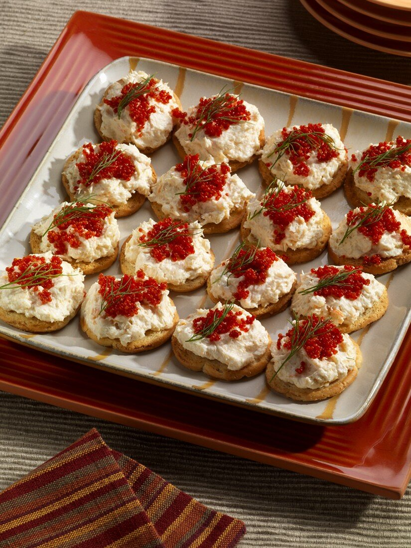 Crostini with Shrimp Pate and Red Caviar