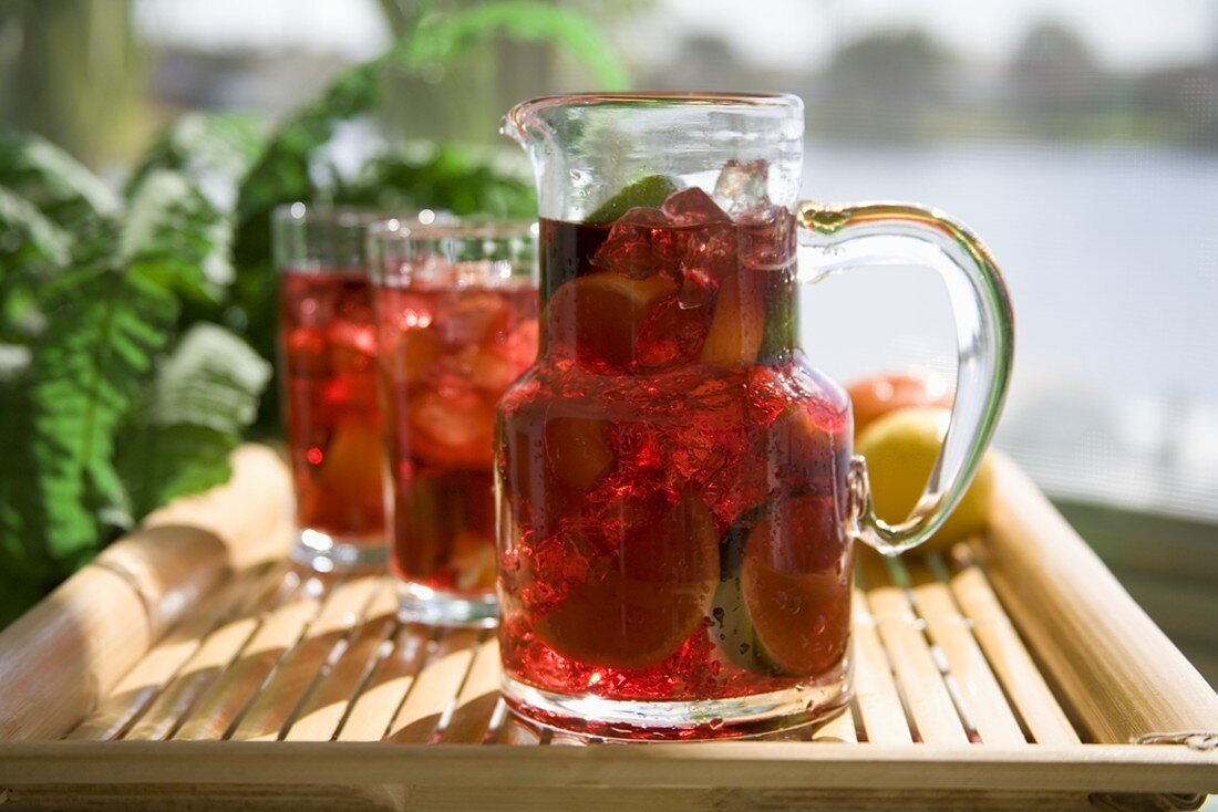 A Pitcher and Glasses of Sangria on a Tray, Outdoors