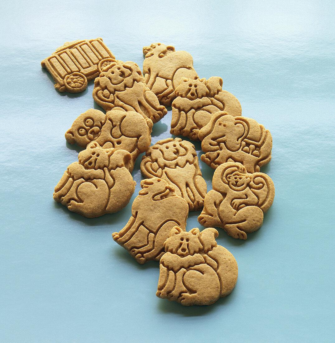 Assorted Animal Cookies on Blue