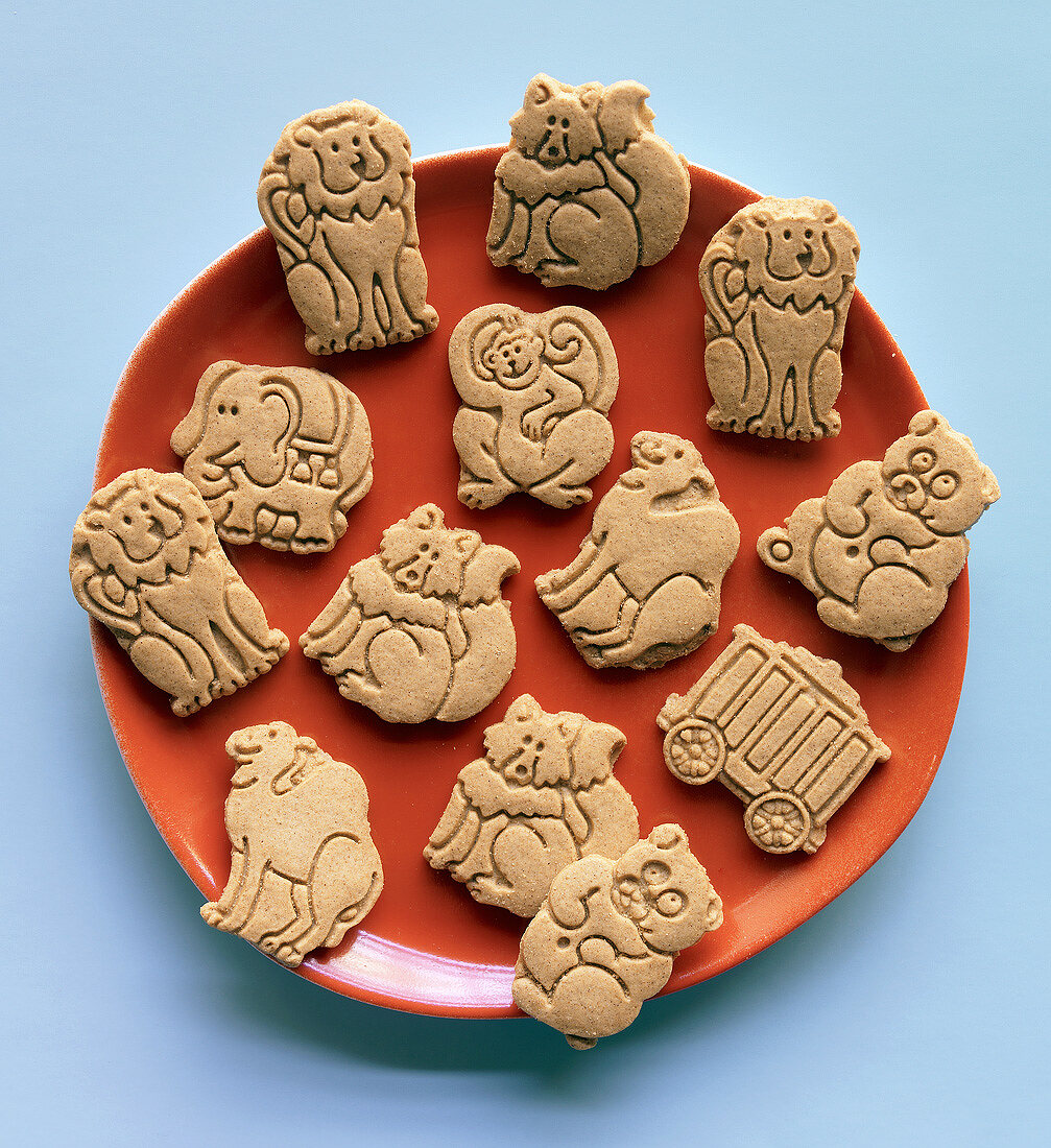 Plate of Animal Cookies, From Above