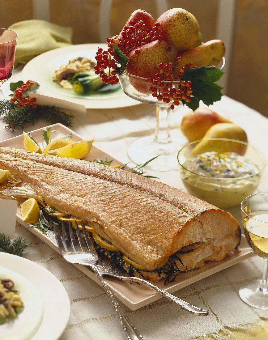 Lemon Tarragon Stuffed Salmon on a Platter, Bowl of Caper Sauce