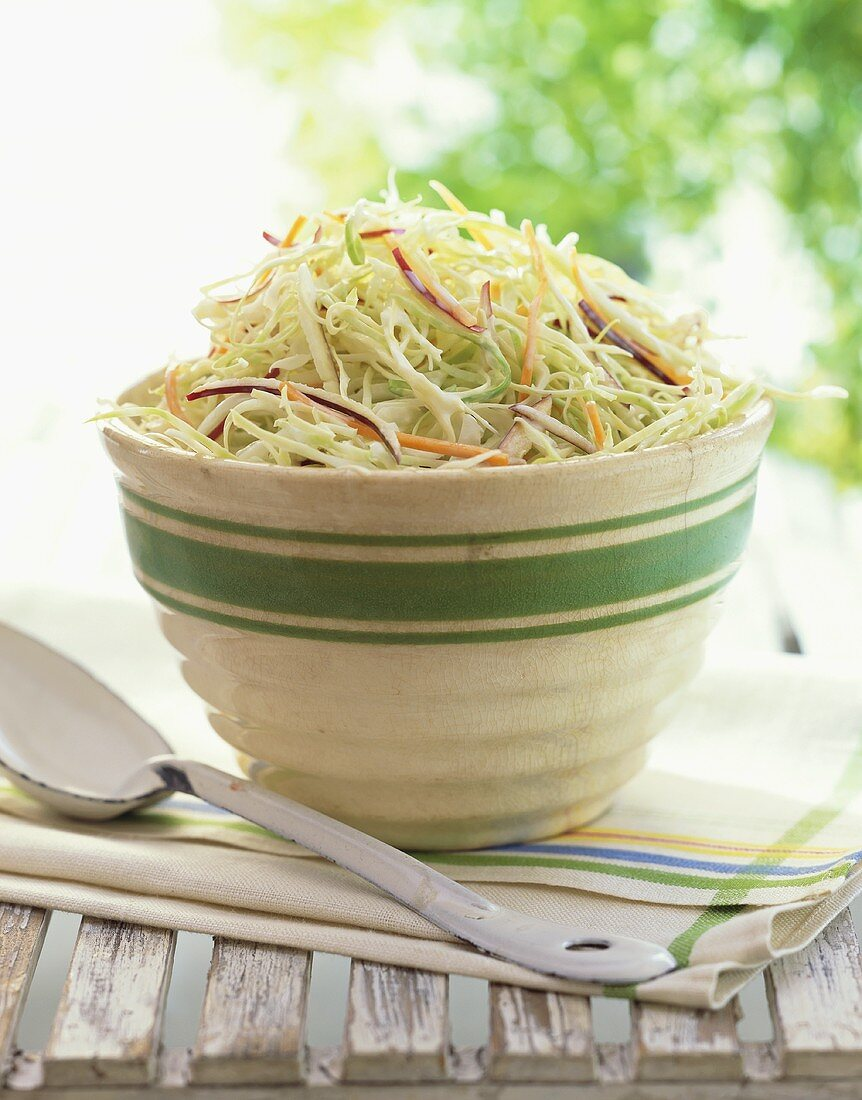 Serving Bowl of Cole Slaw on an Outdoor Table, Large Metal Serving Spoon