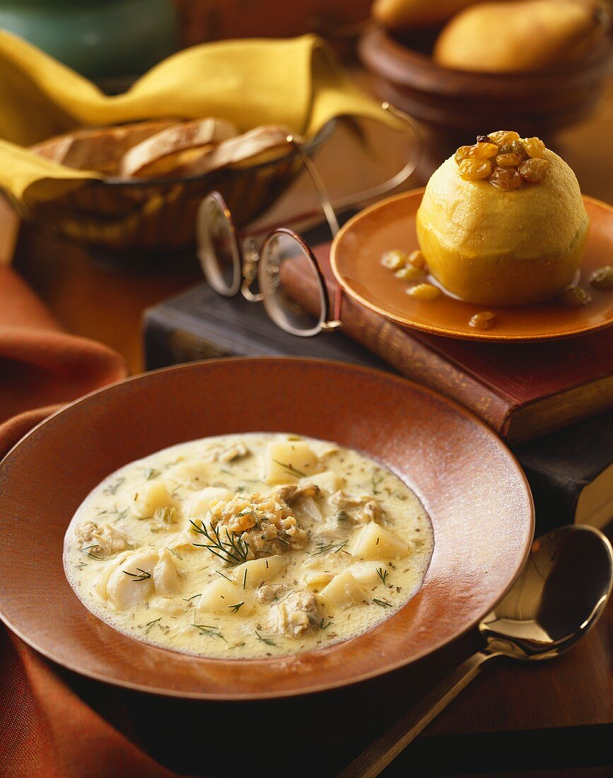 Bowl of New England Clam Chowder, Baked Stuffed Apple