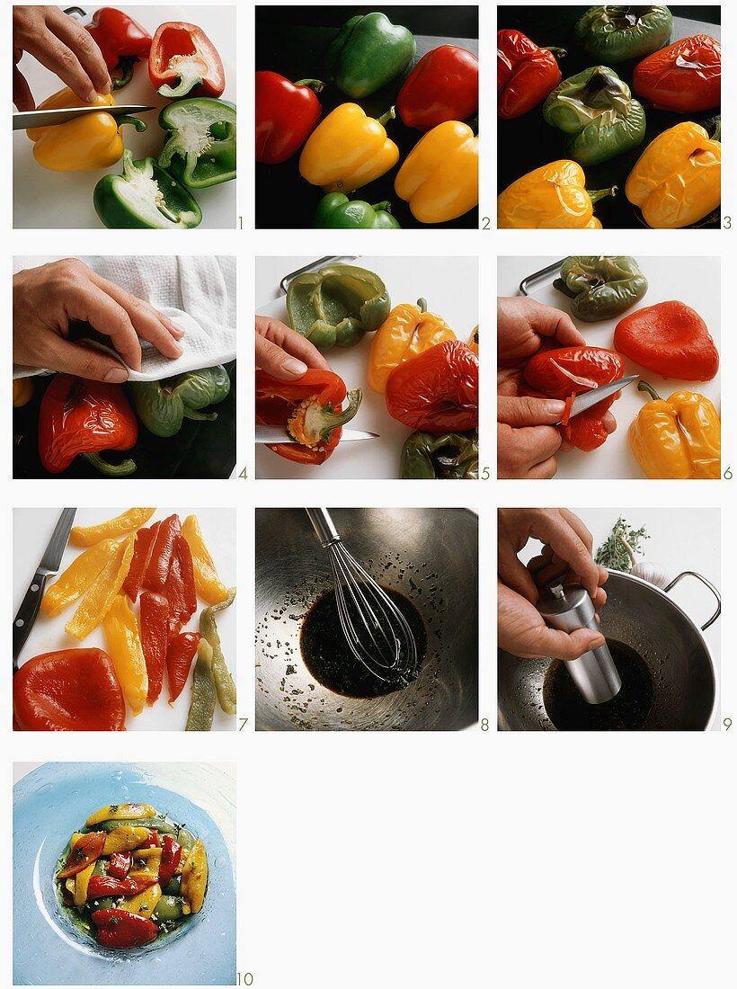 Preparing pepper salad