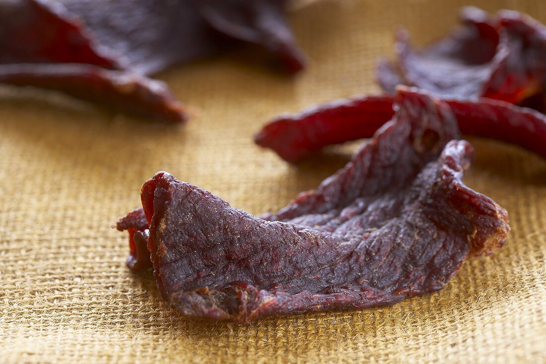 Pieces of Beef Jerky Close Up