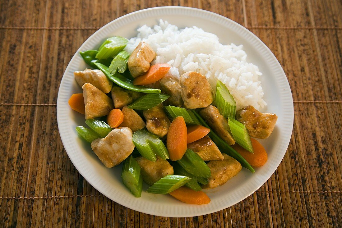 Plate of Chicken Chop Suey with Rice