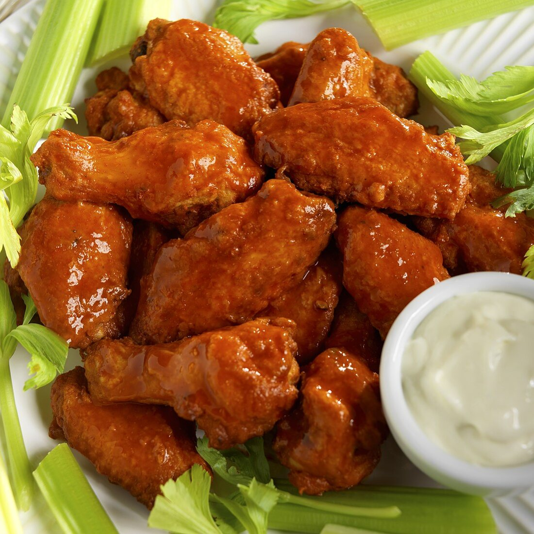 Hot Buffalo Wings with Blue Cheese Dressing and Celery