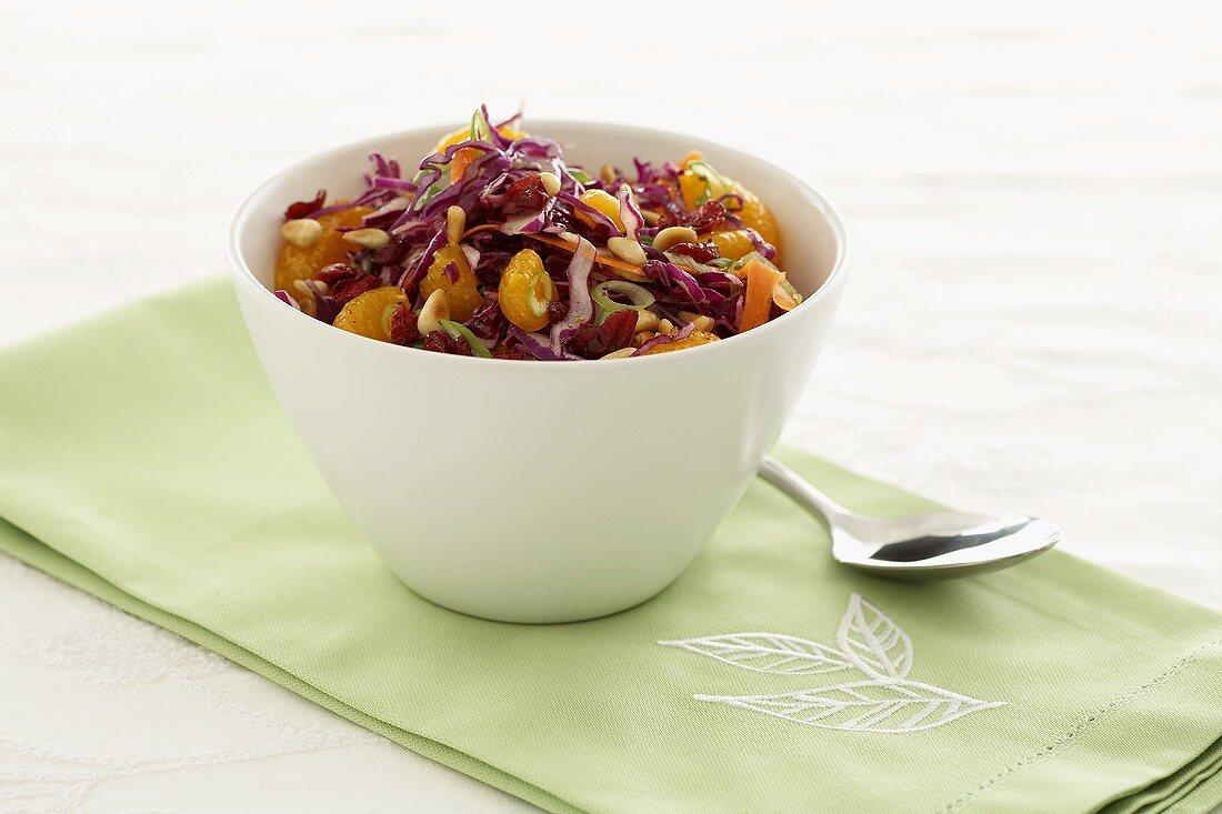 Red cabbage and mandarin salad
