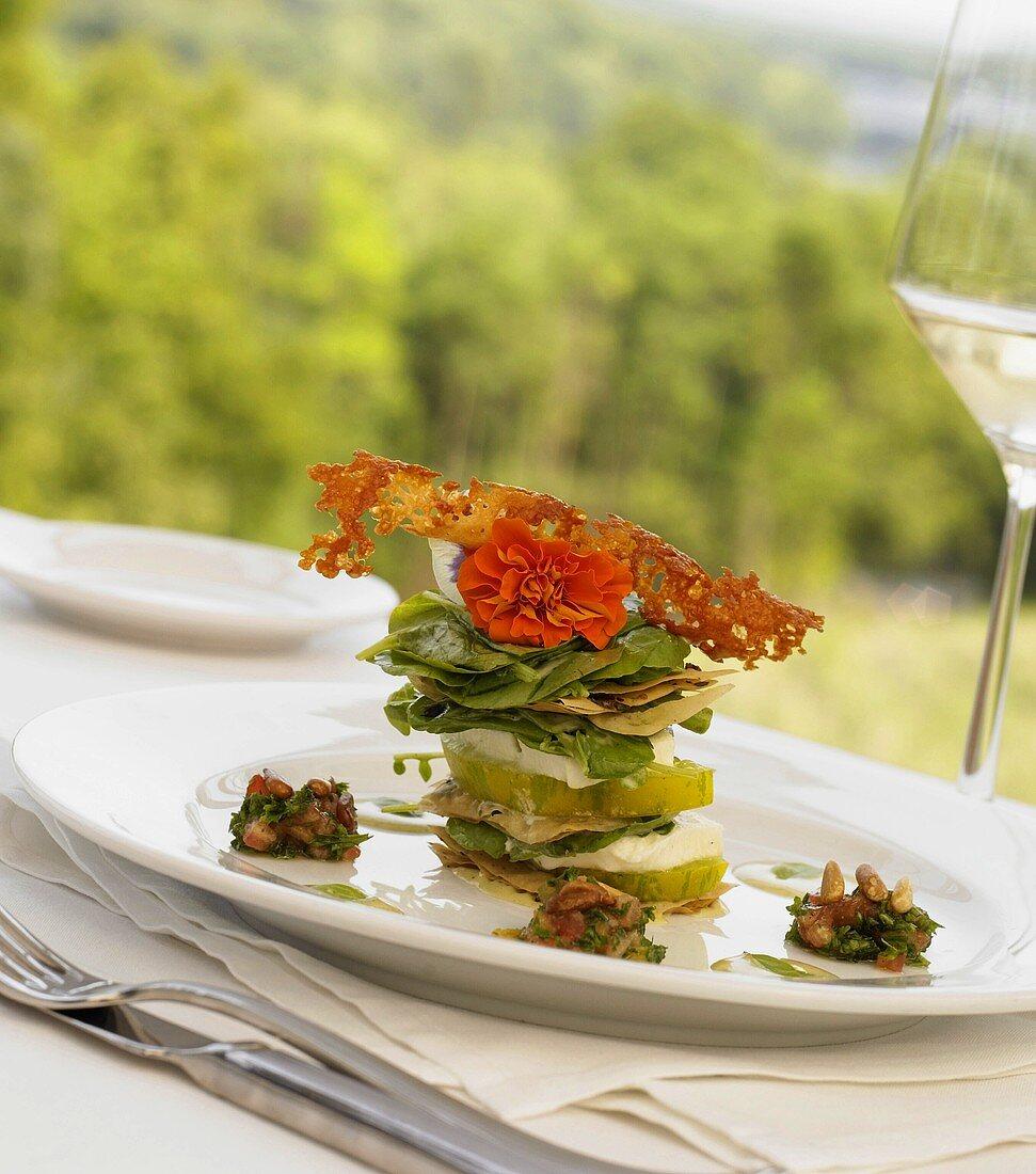 Tower of Green Tomato Slices, Mozzarella and Basil