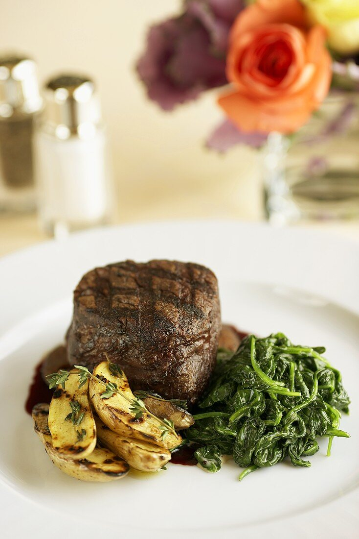 Grilled Filet Mignon with Grilled Potatoes and Spinach
