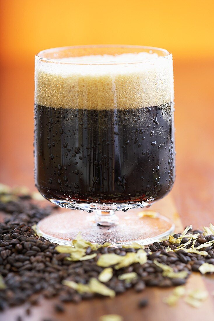 Imported Chocolate Malt Beer in a Glass Mug, Grains
