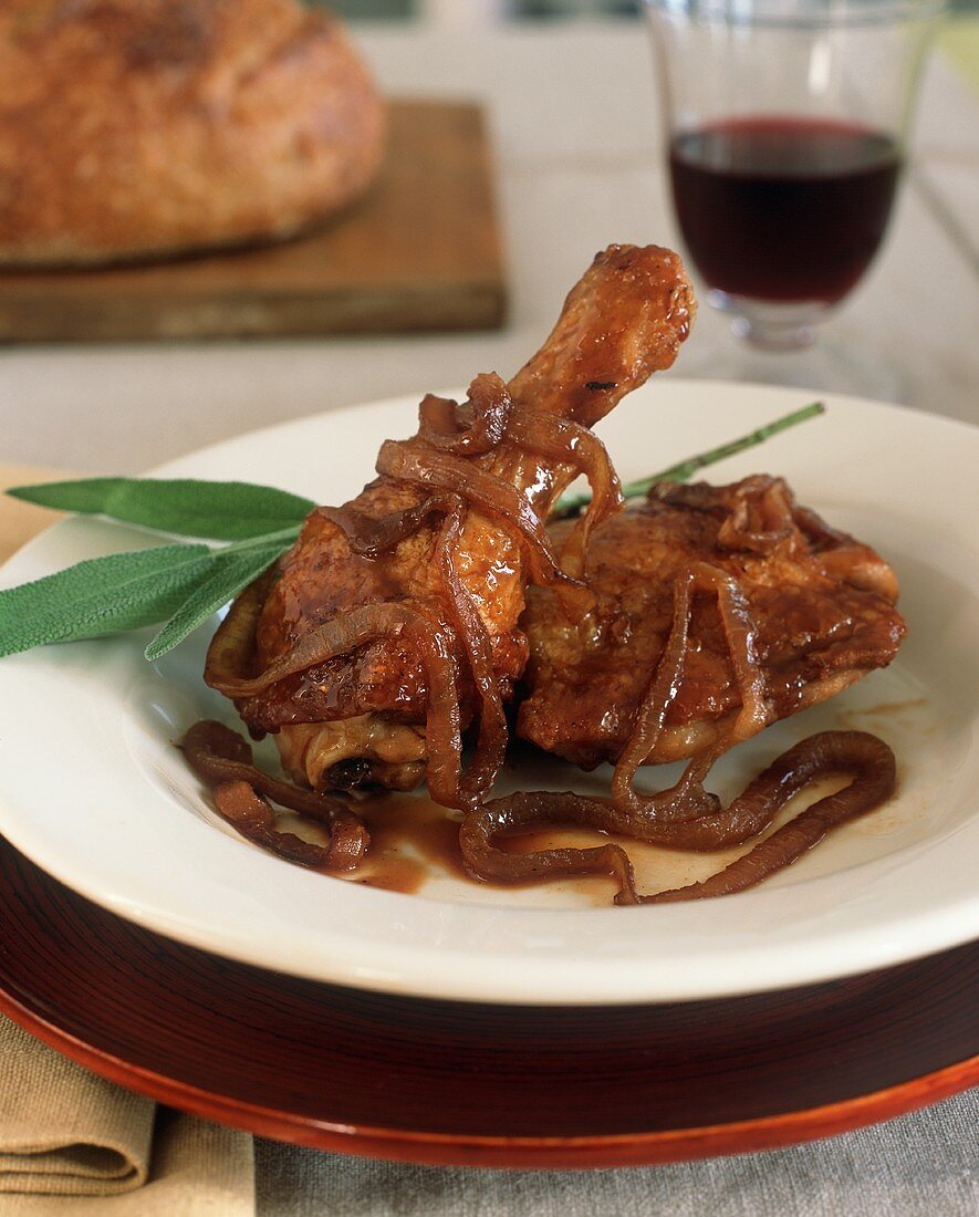 Chicken Thigh and Drumstick with Onion Sauce; Red Wine