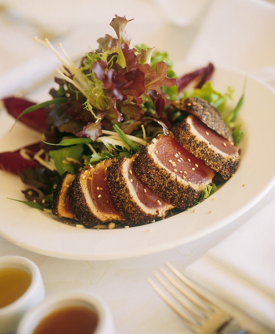 Seared Rare Tuna Sliced with Mixed Greens