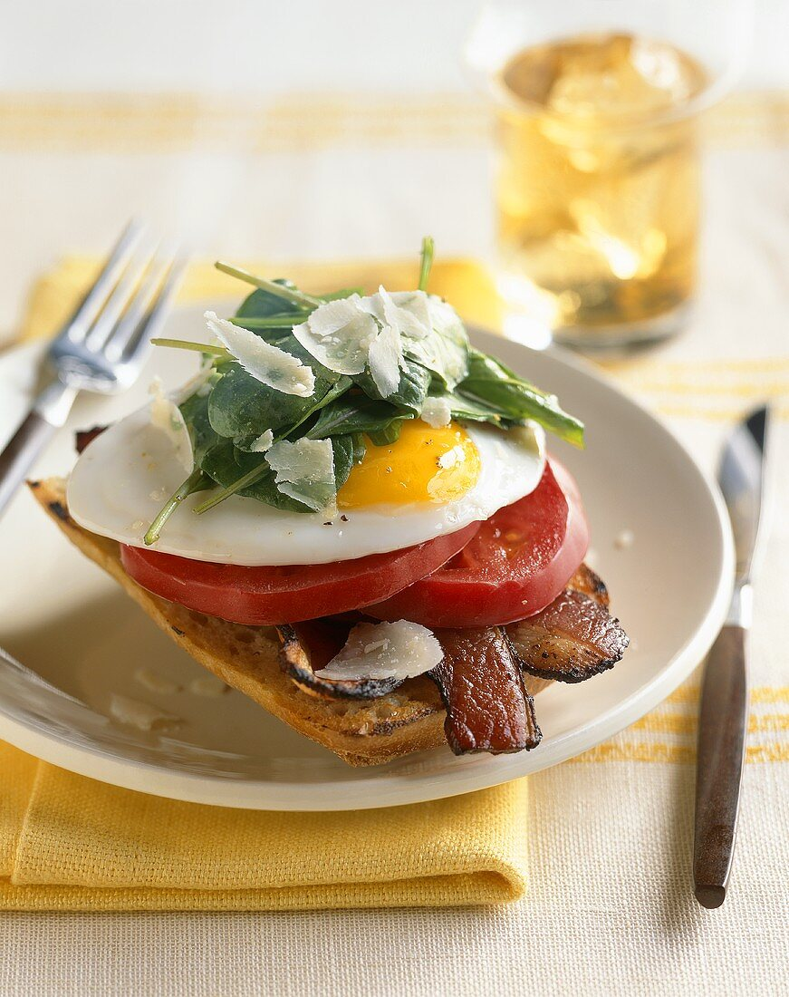 Spinach, Egg, Tomato and Bacon on Toast