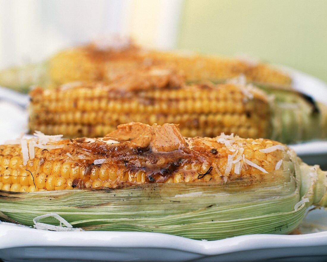 Grilled Corn on the Cob with Ancho Butter and Parmesan Cheese