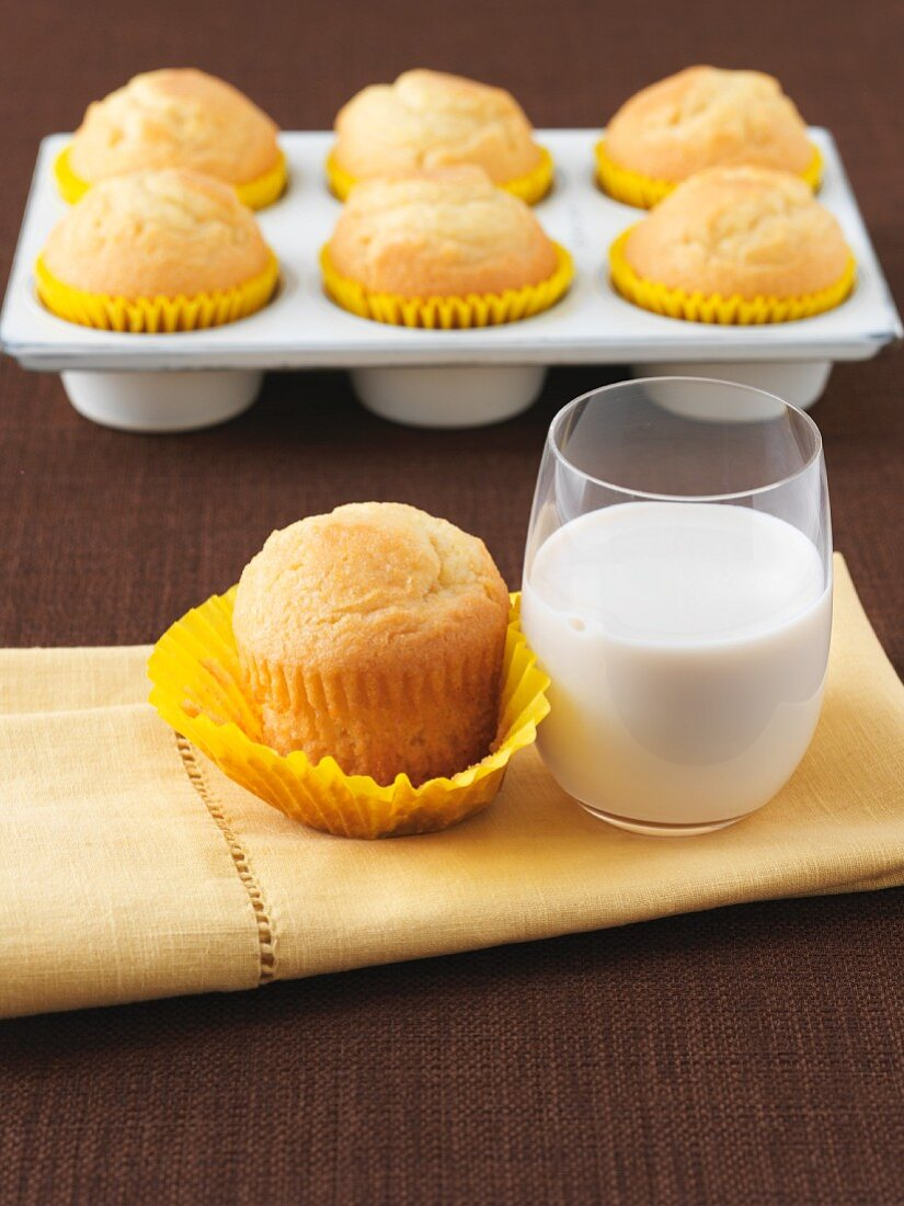 Lemon Muffin with a Glass of Milk; Muffins in Pan