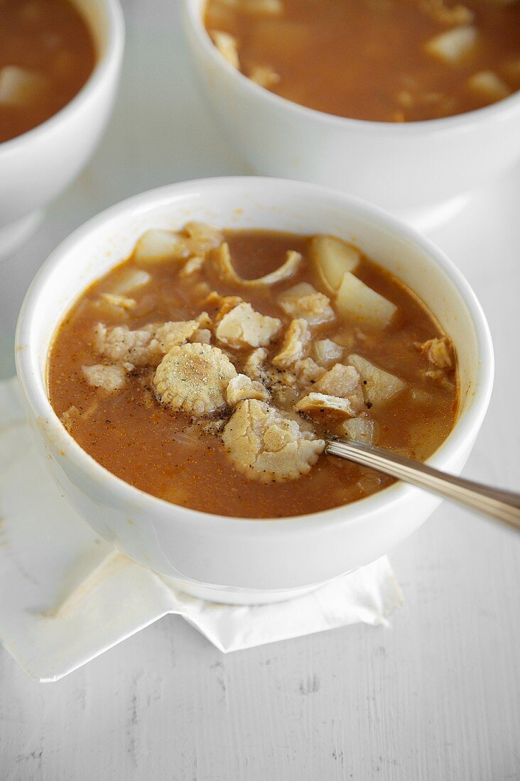Bowls of Red Clam Chowder with Oyster Crackers