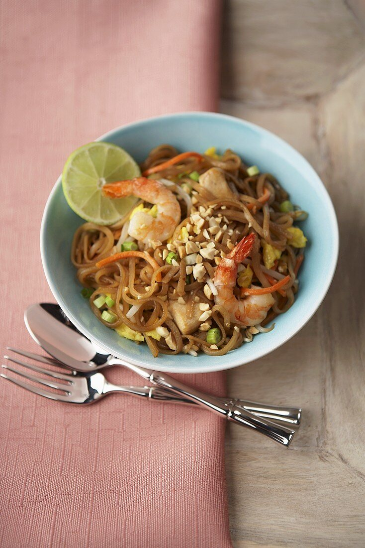 Bowl of Pad Thai with Fork and Spoon, From Above