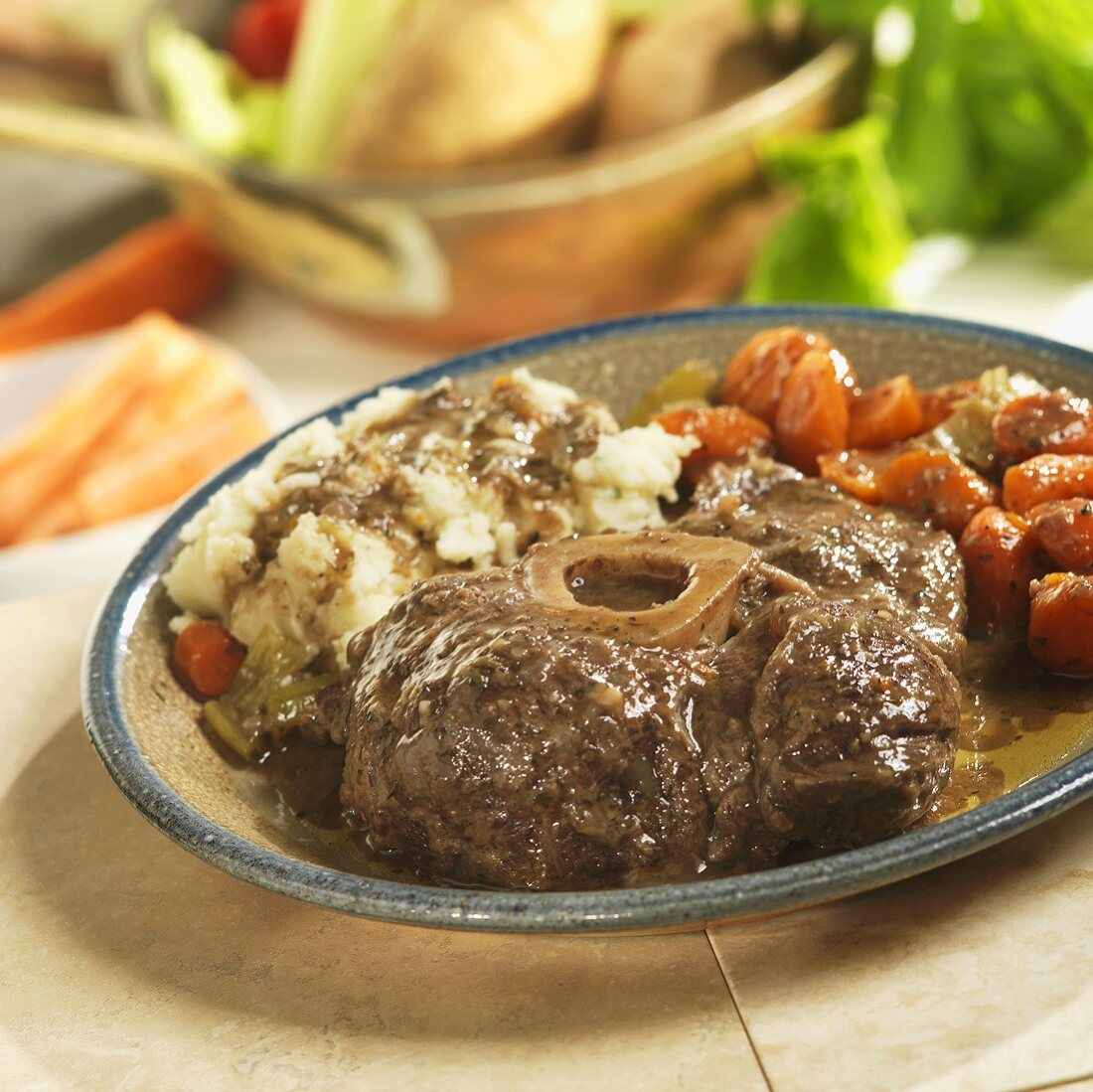 Braised Beef Shank with Carrots and Potatoes