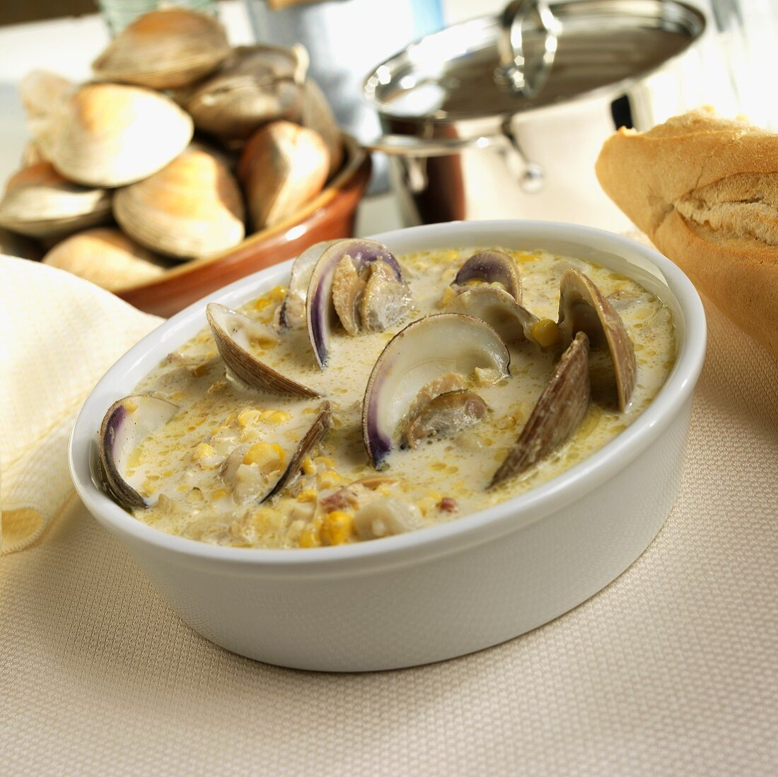Bowl of Corn and Clam Chowder