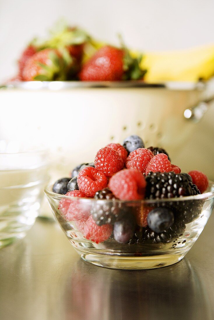 Mixed Berries in a Glass Bowl