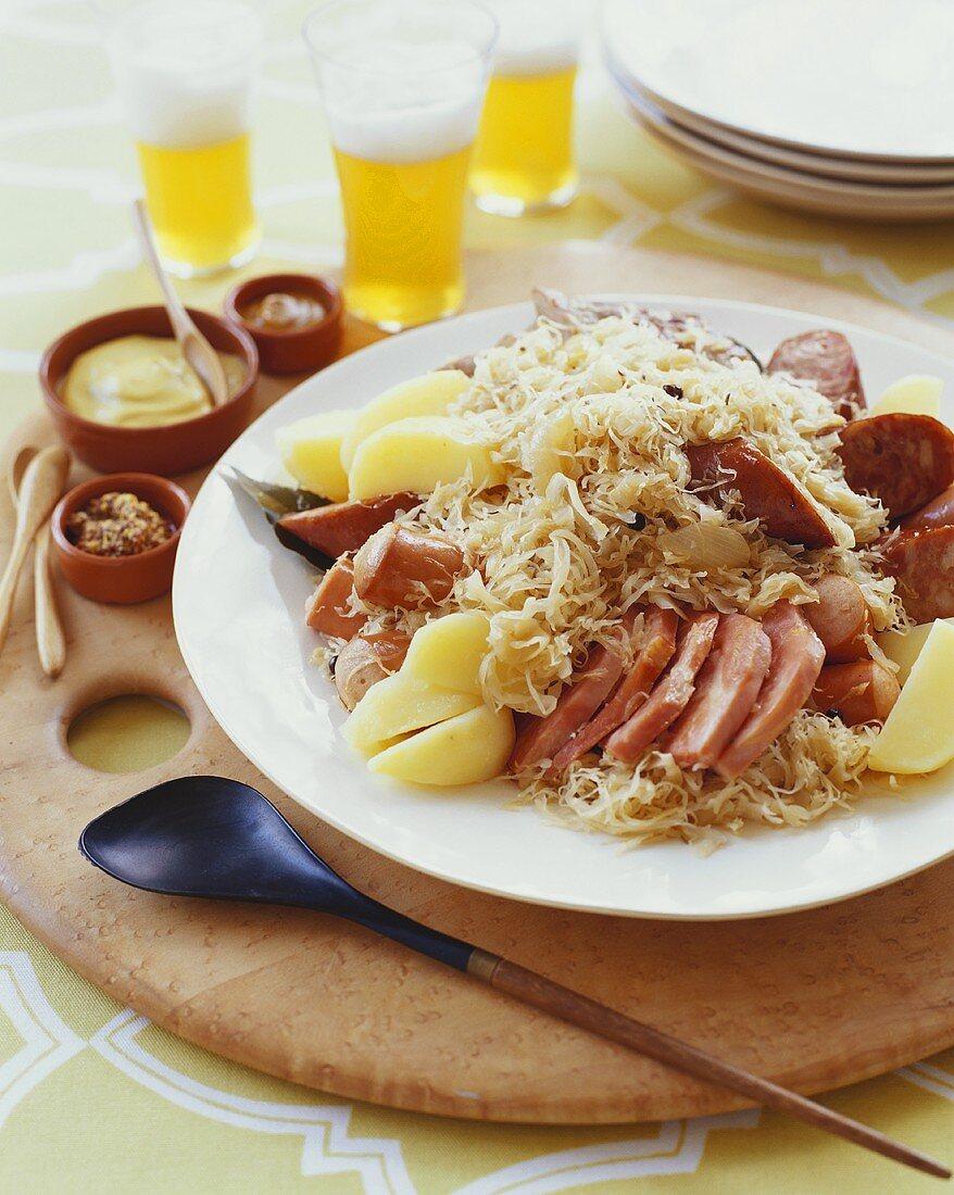 Choucroute Garni; Sauerkraut with Sausage and Potato