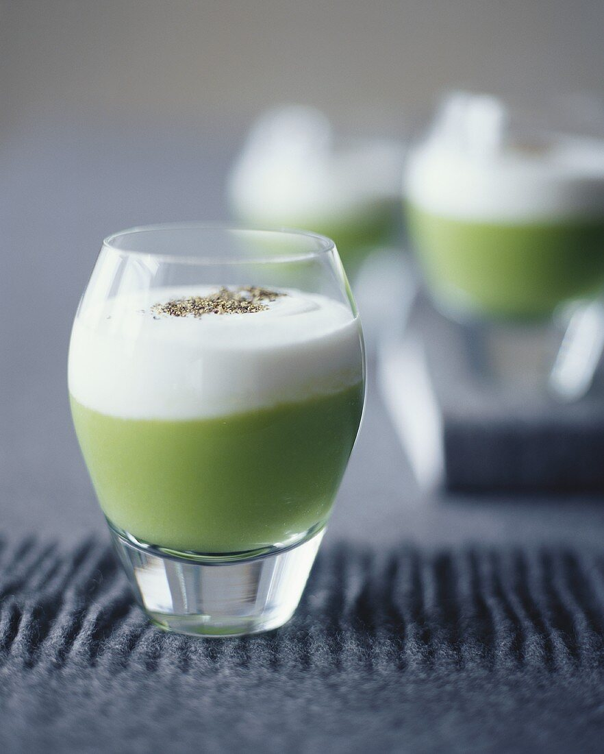 Pea Soup with Cream in a Glass Dish