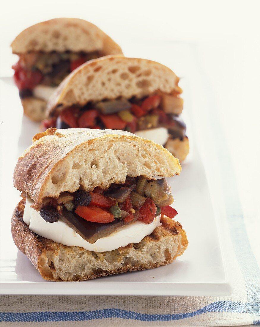 Caponata and Mozzarella Sandwiches on Crusty Bread