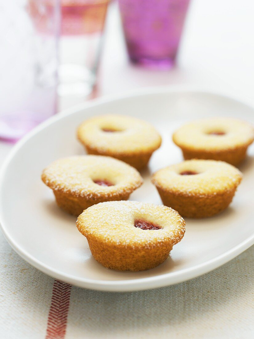 Mini Jam Filled Sponge Cakes on a Platter